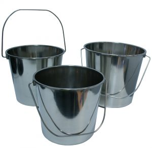 Stainless Steel Milk Bucket 3 Pack 8 Litre 12 Litre 16 Litre