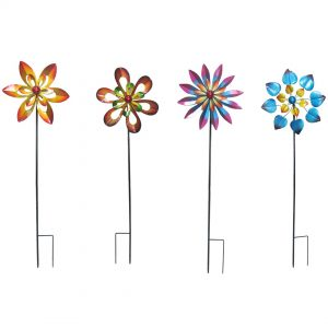 Floral Wind Spinner Ornamental Windmill SET OF 4