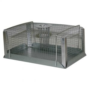 galvanised rectangular mesh box trap with funnel shaped entry