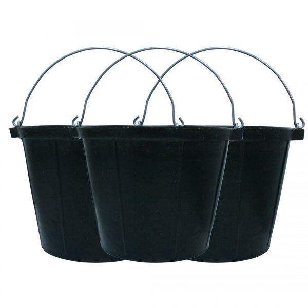 Rubber Bucket 10 Litre 3 pack